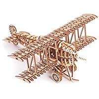 Wood Trick Bi-Plane Toy Kit, Wooden Toy 3D Plane - Mechanical Model Plane Mini - 3D Wooden Puzzle, Assembly Toys, ECO Wooden Toys, Best DIY Toy - STEM Toys for Boys and Girls