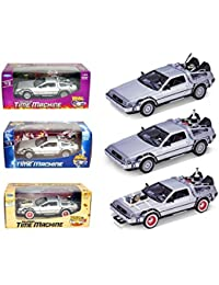 Collect All 3pc Set Delorean Time Machine Trilogy 1/24 Set Back To The Future 1,2,3 Trilogy Pack By Welly