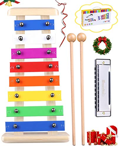 Smarkids Holz Xylophon für Kleinkinder & Mundharmonika Set - Luxus Kinder Musikinstrumente Set Percussion Instruments Preschool Lernspielzeug mit Premium Xylophon Mallets und Handheld Geschenkbox