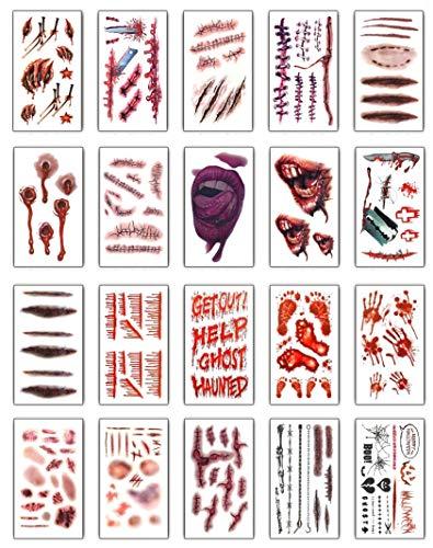 Halloween zombie cicatrici,yuson girl vampiro tatuaggio temporaneo tatuaggi trucco per halloween partito puntello e adesivo cosplay 20 pezzi (style 2)