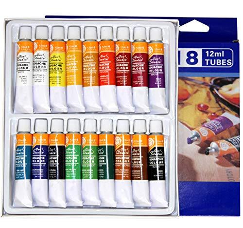 Magi GOUACHE Farbset mit 36 Tuben - zwei Sets je 18 Farben