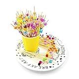 JZK 200 x Cocktailspieße Holz Spieße Fingerfood Partypicker mit Bunter Acrylperle12 cm für Grillgut, Fingerfood, Obst-Spieß, Candy und Antipasti für Party Geschenk Gastgeschenk Fasching Geburtstag Party