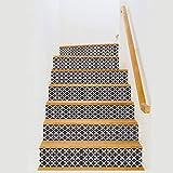BAI-Fine Treppen-Aufkleber, Schwarz-weißer Diamant-Ausgangs Umweltschutz Selbstklebende Treppen-Tapete PVC 100 * 18cm / 6pcs