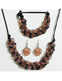 DollsofIndia Copper Wire With Black Cord Necklace With Bracelet And Earrings - Metal Wire (EK57-mod) - Brown