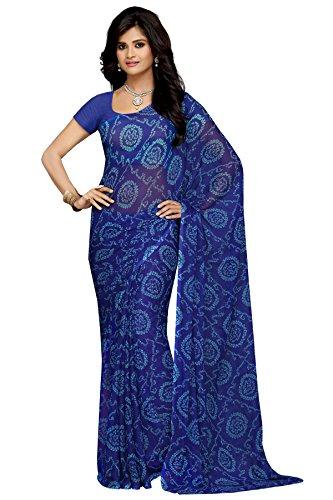 Rani Saahiba Chiffon Saree without Blouse Piece (SKR1958_Navy Blue_One Size)