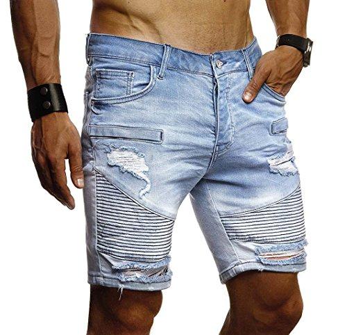 LEIF NELSON Herren Jeans Shorts Sommer Kurze Jogger Hose Jeanshose Chinos Cargo Bermuda Stretch Slim Fit LN1663; W30; Hell Blau