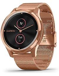 Garmin Vivomove Luxe Smartwatch Hybrid Analogue Digital Unisex, Rose Gold Case, Steel Rose Gold Mesh Maglia Milano Bracelet 010-02241-04