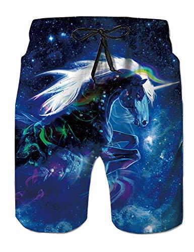 Fanient Hombres fanáticos Troncos de natación Unicornio Gráfico Trajes de baño de Secado rápido para el baño de bañador Pantalones de Surf Ocasionales Forro de Malla L