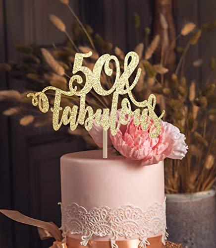 50 und fabelhafte Tortenaufsatz 50. Geburtstag Dekoration Meilenstein Tortenaufsatz Gold Tortenaufsatz Tortenaufsatz width 6