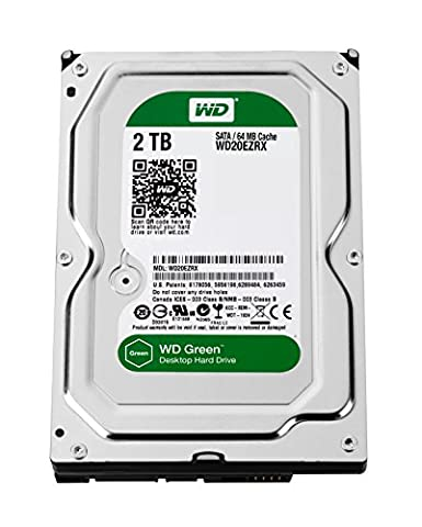 Western Digital WD20EZRX 2TB interne Festplatte (8,9 cm (3,5 Zoll), 5400rpm, SATA 6Gb/s, 64MB Cache) grün oder blau- Auswahl ist nicht