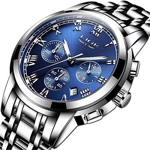 Orologi da uomo, LIGE Luxury Brand Orologio al quarzo analogico in acciaio inossidabile Orologi sportivi da uomo impermeabile Orologi da polso casual da uomo d'affari in argento blu