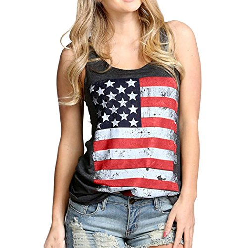 Ouneed® Femme Ete Tshirt Drapeau Americain Debareurs (S tour de poitrine :86cm, Gris fonce)