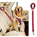 Docamor Adjustable Dog Seat Belt Dog Harness Pet Car Vehicle Seat Belt Pet Safety Leash Leads Dogs/Cats Adjustable From 18 To 30 Inch Nylon Fabric Material Carnation (Red-1Pack)