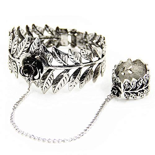 Lace Drop (SayHia Fashion Style Women Rose Lace Flower Drop Bracelet Slave Set Lolita Gothic Ball)