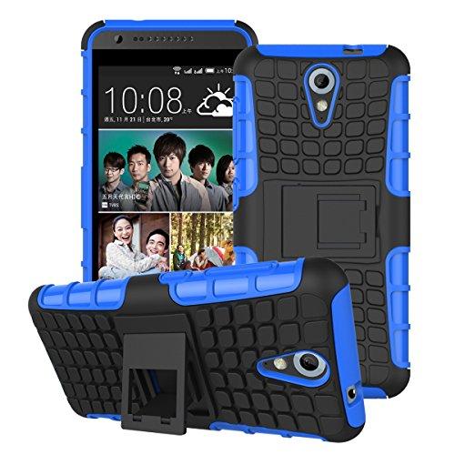 DEFENDER Hard Armor Hybrid Rubber Bumper Flip Stand Rugged Back Case Cover For HTC DESIRE 620G / 620 Dual Sim - Blue
