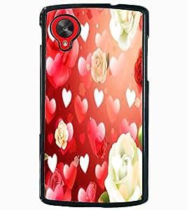 ColourCraft Heart and Flower Design Back Case Cover for LG GOOGLE NEXUS 5