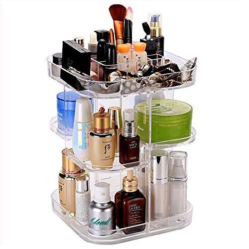 Slivy Durchsichtiger, 360 ° drehbarer Make-up-Organizer Einstellbarer Kunststoffkarussell-Spinnhalter Lagerregal Große Kapazität Make-up-Caddy-Regal Kosmetik-Organizer Box for die Arbeitsplatte