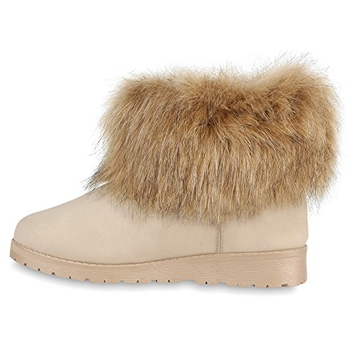 Warme Damen Stiefeletten Schlupfstiefel Gefütterte Schuhe Creme WkvlzD