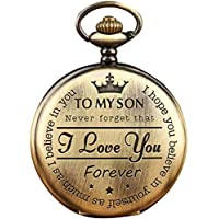 Ayioo Quartz Pocket Watch Numeral To My Son Love Roman Round Display Vintage with Gift Box (Bronze)
