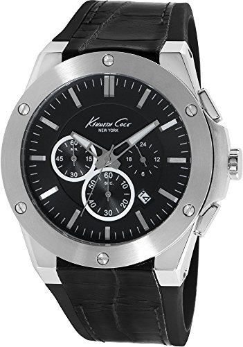 KENNETH COLE MEN'S 40MM BLACK LEATHER BAND STEEL CASE QUARTZ WATCH IKC8086