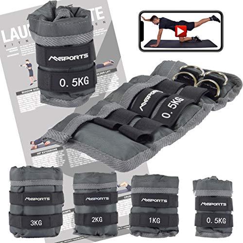 MSPORTS Gewichtsmanschetten Professional -einstellbar- Paar von 0,5-3 kg Fuß- und Hand-Gewichte inkl. Übungsposter + Work Out App GRATIS (0,5 kg - Paar)
