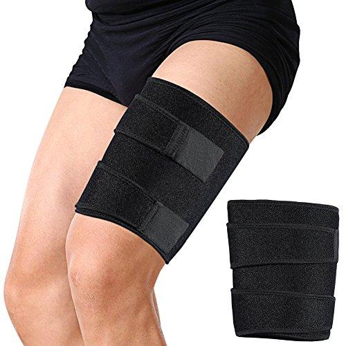 Oberschenkelbandage, Einstellbare,Atmungsaktiv,Oberschenkel Bandage für Sehnen Tendinitis Muskelverletzungen reha und erholung, Passend für Männer und Frauen(Schwarz)