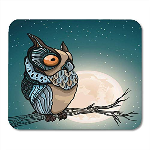 s Brown Star Cartoon Owl Sitting on Branch in The Night Starry Sky with Full Moon Bird 11.8