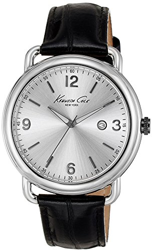 Kenneth Cole KC1954 43mm Stainless Steel Case Black Calfskin Mineral Men's Watch (Certified Refurbished)
