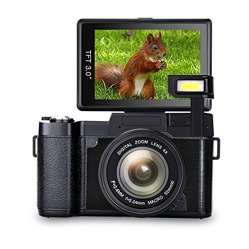 Appareil Photo numérique Vlog Caméra Full HD 1080p Point and Shoot Appareil Photo Flip Screen Caméra Flash léger avec Capuchon d