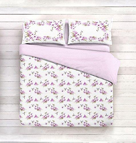Telo arredo copritutto 2 misure prodotto italia foulard multiuso floreale classico fiori floreale lilla bianco - 250x290 cm lilla