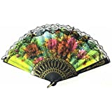 AUM- Lace Trim Colorful, Flower Floral Pattern, Hand Held Folding Plastic Japanese Silk Hand Fan (Black-L6).100% Hand Crafted, Gift Fan For Girls, Women, Wedding Party. Buy 100% Original Imported Hand Fan From Aum Impex Only