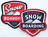 Club-of-Heroes 2er-Set Snowbaord Abzeichen gewebt 60 mm/Alpine Snow-Boarding/Aufnäher Aufbügler Flicken Sticker Patch Wappen/Freestyle Winter Wintersport Technik Ausrüstung Bindung Brille Hose Jacke