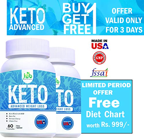 JNB Keto Natural Advanced Fat Burner Weight Loss Supplement with (Green Tea + Garcinia Cambogia + Green Coffee) Extract 800mg 60 Capsules