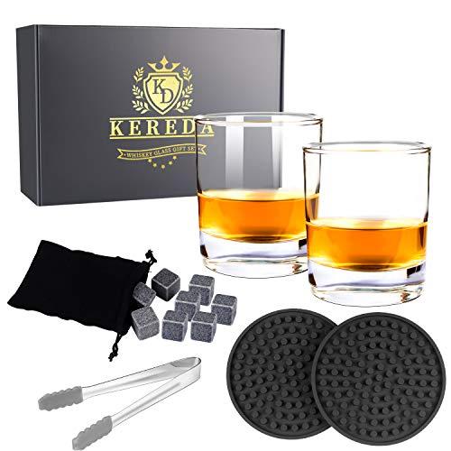 Whiskyglas und Steine Geschenk-Set, Kereda Chilling Rocks und 2 Packungen Bar Crystal Clear Weinbecher 300 ml für Scotch, Brandy, Vodka oder Spirituosen Stil Nr. 4 Clear Crystal Brandy
