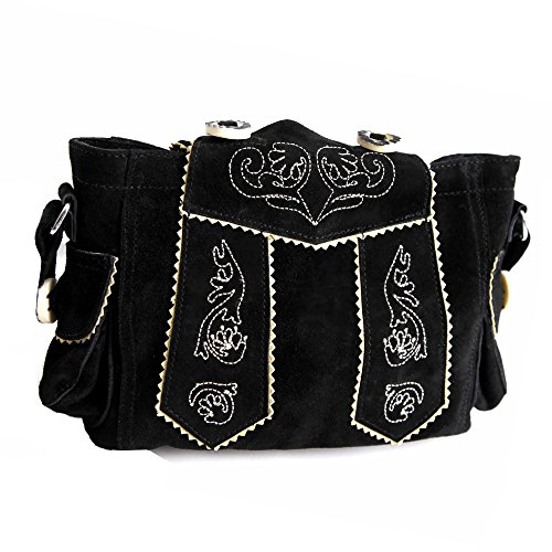 Almbock Trachten-Tasche Betti in schwarz - für Damen, modern, für Hochzeit oder Oktoberfest kaufen, in Lederhosen-Design aus Rinds-Leder (Kuh-leder-beutel)