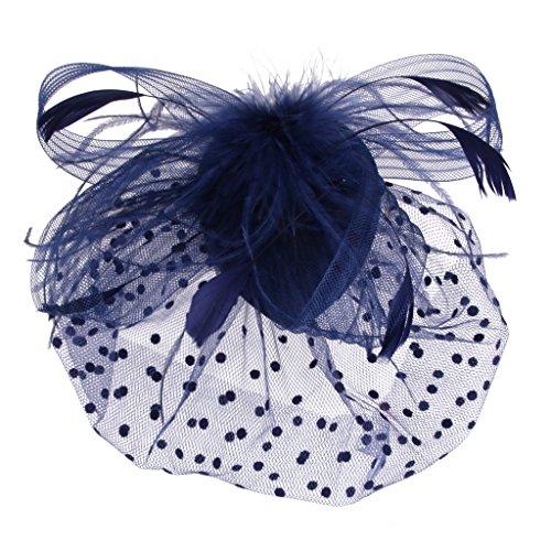 fascinator dunkelblau Feder Fascinator Haarspange Haarclip mit Vogelkäfig Schleier Haarspangen - Dunkelblau