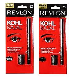 Revlon Kohl Kajal Eye Liner Pencil Black, 1.14g (Pack of 2)