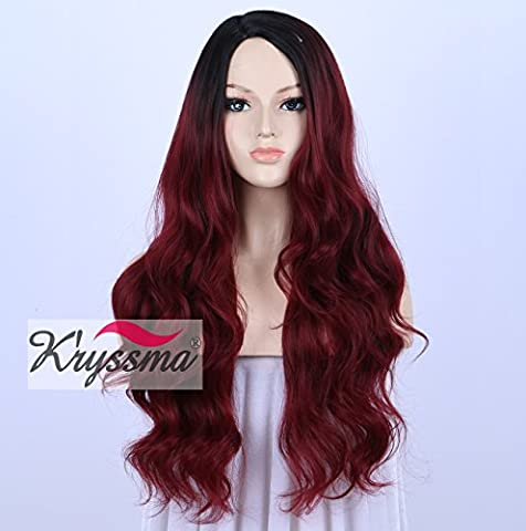 K'ryssma Wig for African American Women Black Rooted Ombre Burgundy Wigs Realistic Looking Long Wavy Wine Red Hair Replacement 24
