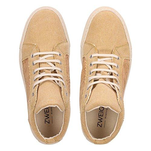 ZWEIGUT® -Hamburg- echt #404 Herren High-Top Kork Schuhe Freizeit Sneaker vegan und nachhaltig, Schuhgröße:47, Farbe:sand-kork - 5