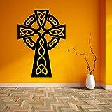 yaoxingfu Etiqueta engomada de Vinilo Cruz simbólica Etiqueta de la Pared diseño Cartel Arte de la Pared Mural Espiritual Espiritual Cruz decoración para el hogar Etiqueta de la Pared un 40x57 cm