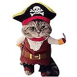L-Peach Disfraz de Pirata Ropa Traje Uniforme para Mascotas Animal Doméstico Gato Perro con Dos Patas y Gorro para Halloween Navidad M