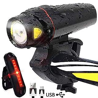 AOMEES LED Bike Lights, LED Smart Sensor Bike Light set Torch Front Headlight & Tail Light USB Rechargeable