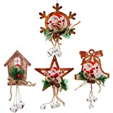 YeahiBaby 4Pcs Wooden Christmas Tree Decorations Ornaments Hanging Snowflake Bell Star House Decorations