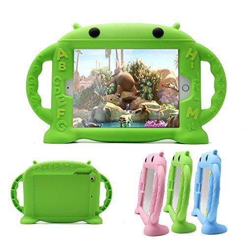 CHIN FAI iPad Mini Hülle für Kinder Stoßfest Silikon Gummi Abdeckung Cartoon Roboter Stand Fall mit Griffen für Apple iPad Mini 1 / Mini 2 / Mini 3 / Mini 4/ Mini 5 (Grün) (Fall Ipad Mini 1)