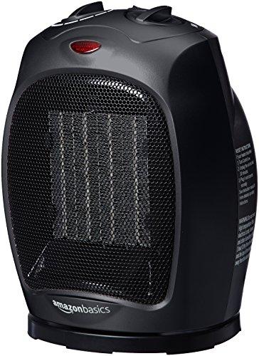 AmazonBasics - Calefactor de cerámica oscilante, 1500 W, con termostato ajustable, Negro