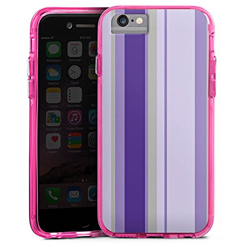 Apple iPhone 6s Bumper Hülle Bumper Case Glitzer Hülle Stripes Streifen Lila Bumper Case transparent pink