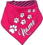 KLEINER FRATZ Gestreiftes Hunde Wende- Halstuch (Fb: pink-Navy) (Gr.1 - HU 27-30 cm) mit dem Namen Ihres Tieres