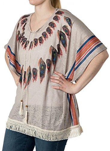 Bird Frauen Kostüme (styleBREAKER Poncho mit Feder Muster in leichter Lochoptik, Fransen, Sommer, Oversize Optik, Boho Style, Damen 08010026,)