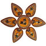 SBD Handmade Elegantly Designed Yellow Rangoli - With Round Shaped Base And Petal Shape Design Decorated With Multicolored Stones - 7 Pieces