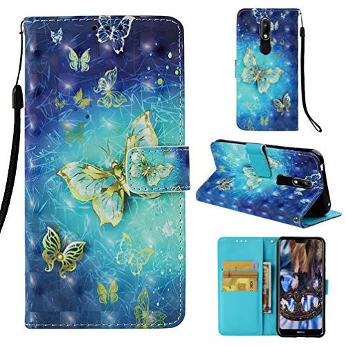 für Nokia 7.1 Lederhülle Wallet Case Flipcase 3D Effekt PU Leder Hülle Brieftasche Book Tasche Ledercase Handyhülle Schutzhülle Handytasche Ständer Handyschale für Nokia 7.1